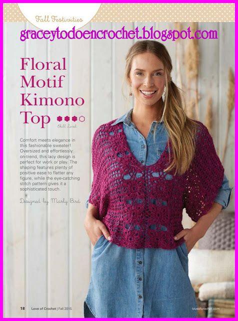 Floral motif kimono top.*** Kimono en la parte superior!