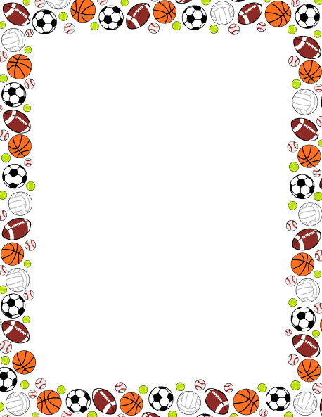printable sports ball border use the border in microsoft word or rh pinterest com Sports Balls Clip Art sports clip art borders free