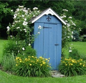 Outdoor shed, vertical boards, small details and that color charm it up. #gardenshed