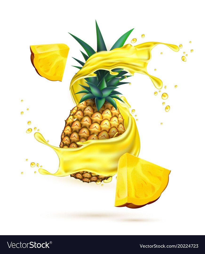 Realistic Pineapple Juice Splash Slice Royalty Free Vector Pineapple Juice Fruit Splash Pineapple
