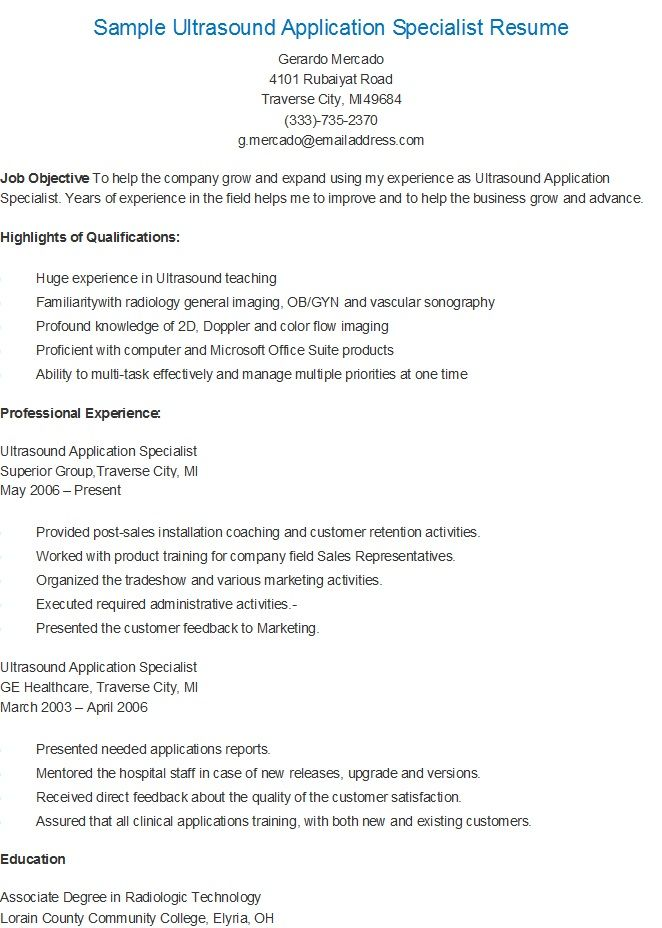 Sample Ultrasound Application Specialist Resume resame Pinterest