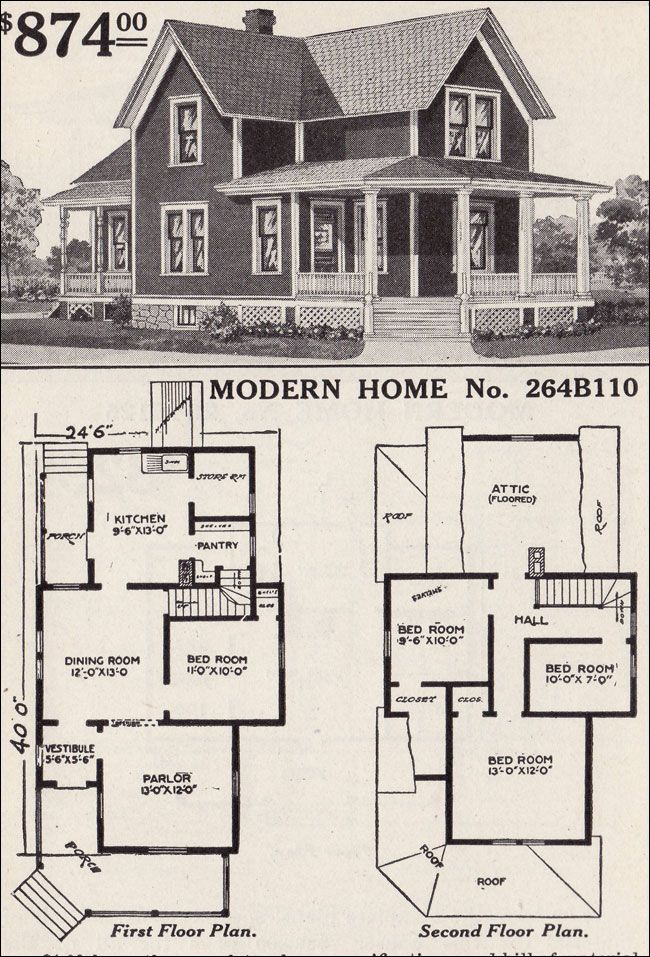 Large list of traditional home floor plans    antiquehomestyle com     Large list of traditional home floor plans    antiquehomestyle com   1916  Sears   No  264B110
