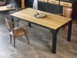 table, table à manger, table de repas, table bois métal, table