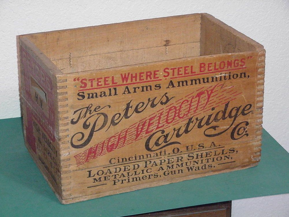 Beautiful Vintage The Peters High Velocity Cartridge Company Wood