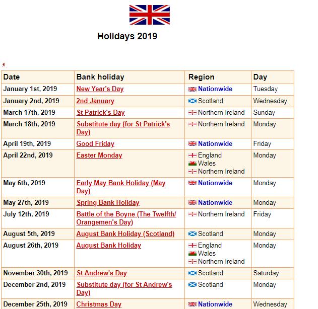 Bank holidays 2019 uk