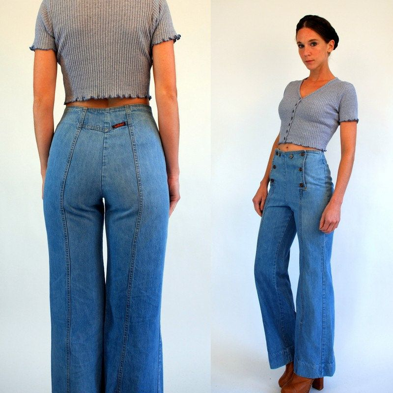 Vintage 70s LANDLUBBER Denim Sailor Bellbottoms. High Waist Medium Rinse  Hippie boho Jeans. Flare Trousers Pants. Extra Small - Small 36 26 by ... a4466b2d2c
