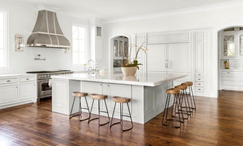Superbe White Large Square Kitchen Island With Marble Top And Storage Under, Wooden  Stools Around Of