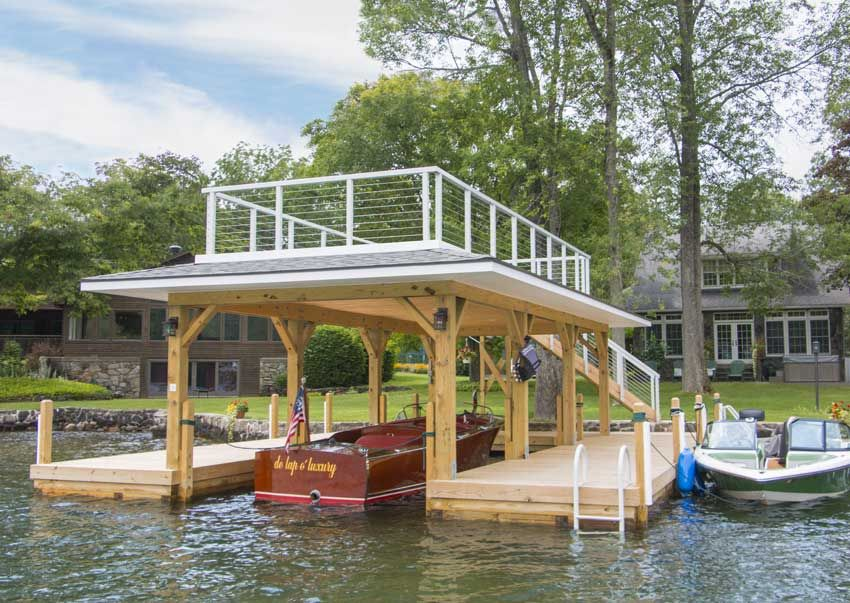 Photo gallery of custom designed boathouses by The Dock Doctors
