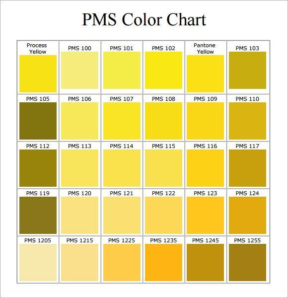 Pms Color Chart 7 Free Download For Pdf Tonos Amarillos Pantone Tonos De Color