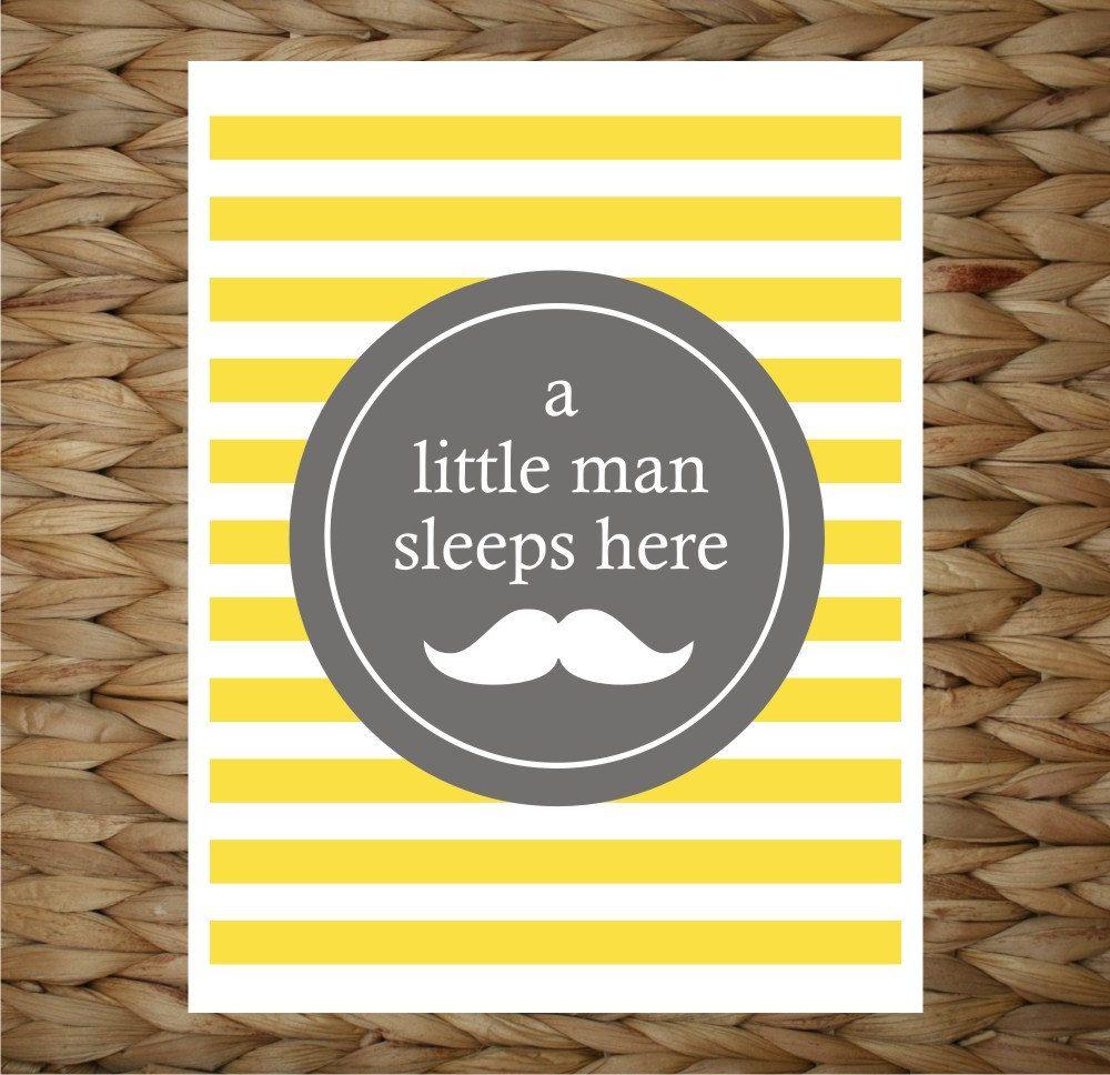 Custom Baby Print 8x10 Wall Art - A Little Man Sleeps Here - original design by a drop of golden sun.