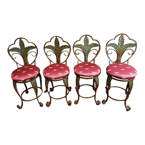 Swivel Rubbed Bronze Indoor Iron Bar Stools With Palm Tree Motif
