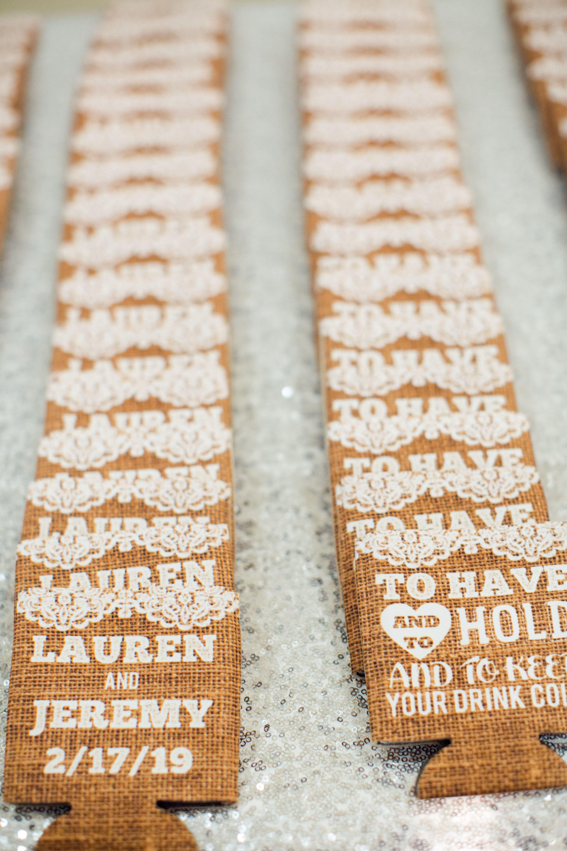 Drink coozy wedding favors Arizona Wedding Photographers