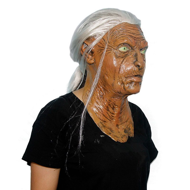 Halloween Mask Scary Masks Maske Deluxe Latex Old Women Mask Mascaras de latex realista White Hair stage makeup costume Haunted
