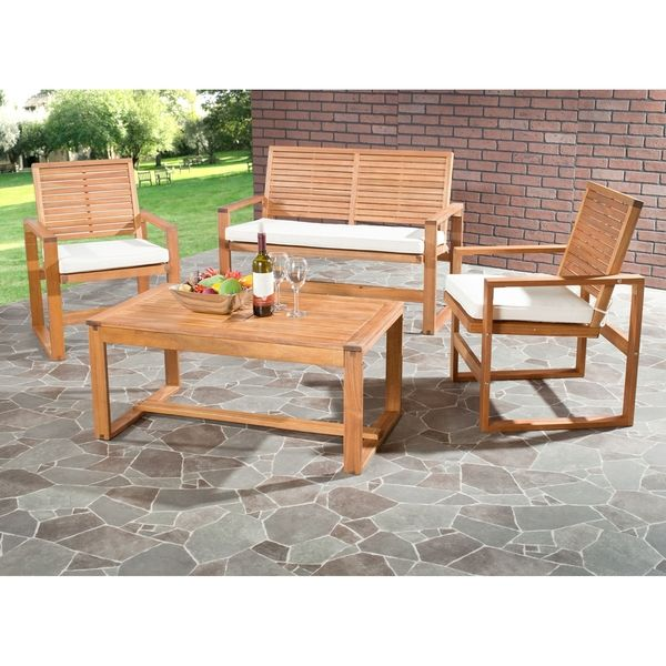 Safavieh Outdoor Living Cushioned Brown Acacia Wood 4 Piece Patio Set Ping