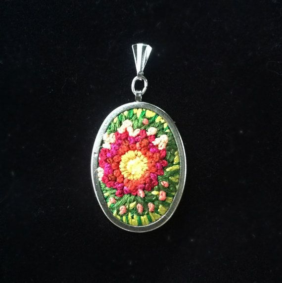 Embroidered Pendant OOAK Pendant Statement by BluePlanetCreations, $25.00