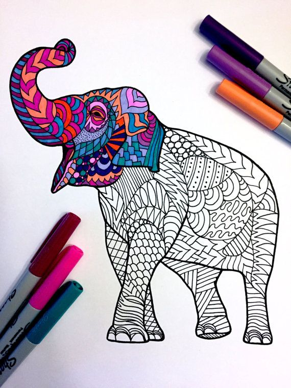 Asian Elephant Pdf Zentangle Coloring Page In 2020 Zentangle