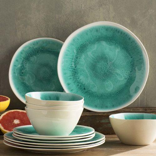 Mistana Devere Crackle Melamine 12 Piece Dinnerware Set Service for 4 | Dinnerware and Glaze & Mistana Devere Crackle Melamine 12 Piece Dinnerware Set Service for ...