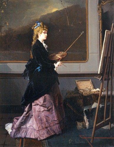 La Pittrice, 1870 by Domenico Induno (Italian 1815-1878)