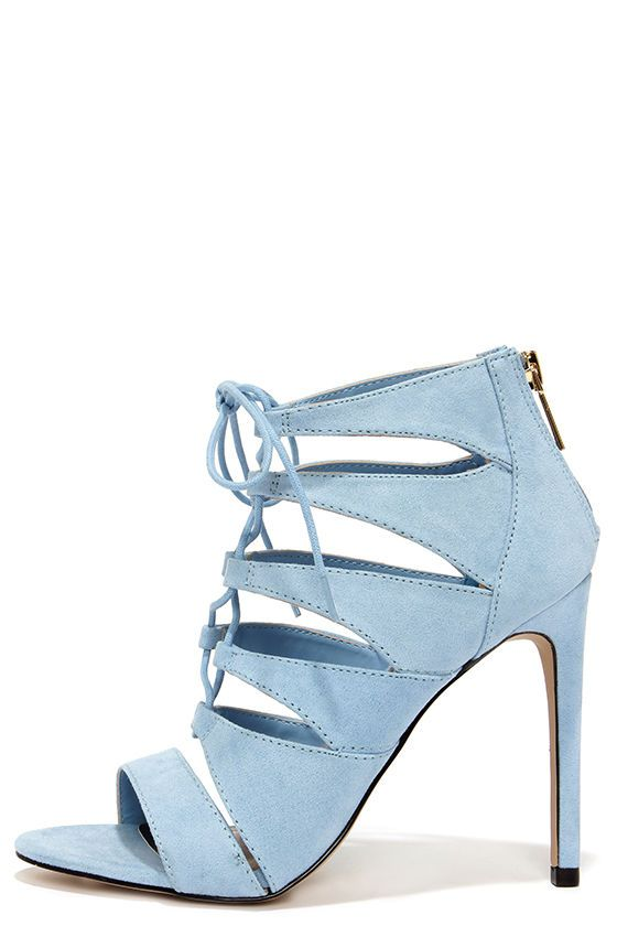 eae19089e0c4 Madden Girl Raceyyy Baby Blue Suede Lace-Up Heels