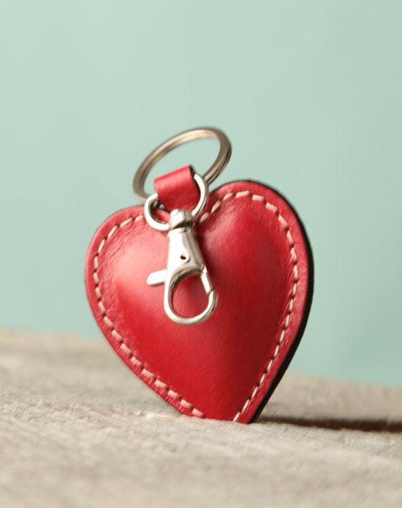 Leather Keychain Women. Valentines gift. Women Gift. Keychain. For women.  Red heart keychain. Key chain. Womens keychain. Leather key fob.  Personalized. cb6096fac3