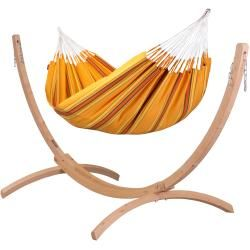Photo of Currambera Apricot – Classic double hammock with frame made of Fsc ™ certified spruce La Sies