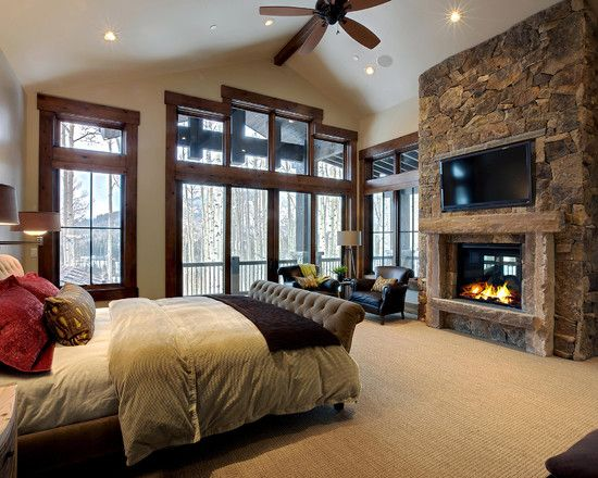 Master Bedroom Love The Fireplace Contemporary Bedroom Home