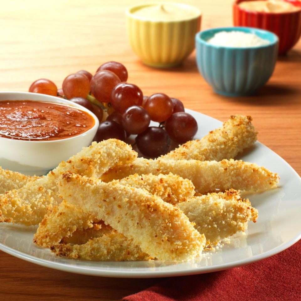 Strips of swai fillet are coated in Parmesan-panko bread crumbs and baked until golden and delicious. The tasty fish fingers are served with a zesty marinara sauce and will delight all ages.Ingredients