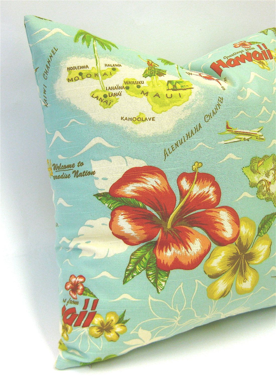 Beach Decor - Hawaiian Retro Pillow Cover - 18x18 ...