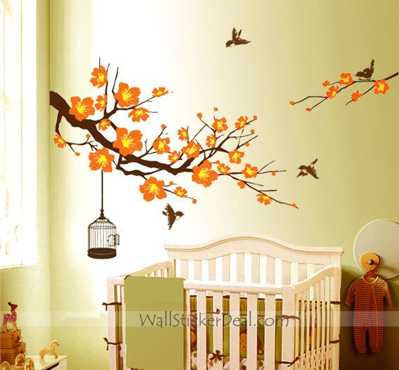 Plum Tree Flower With Birds and Birdcage Wall Stickers | tree wall ...