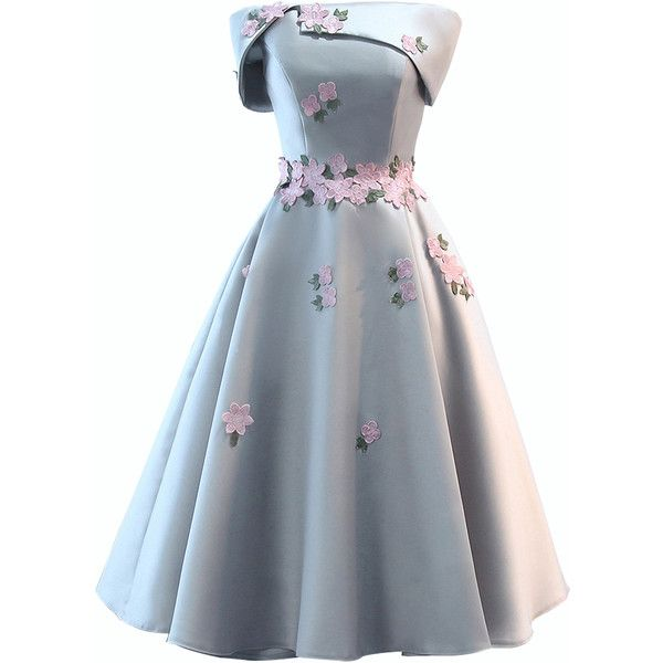 Gray Satin Folded Bandeau Embroidery Floral Skater Prom Dress ($65 ...