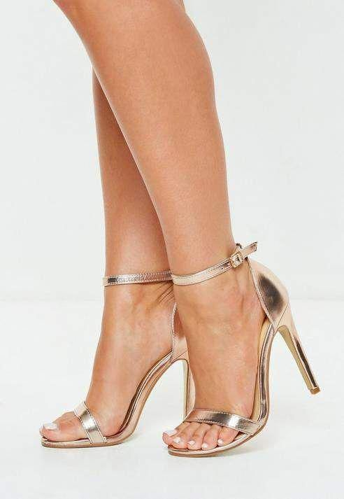 1314637ea7bf Missguided Rose Gold Barely There Patent Heeled Sandals  SandalsHeels