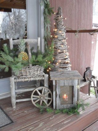 Rustic Christmas Weathered Lantern Basket Of Pine Lighted Grapevine Tree Christmas Decorations Outdoor Christmas Country Christmas