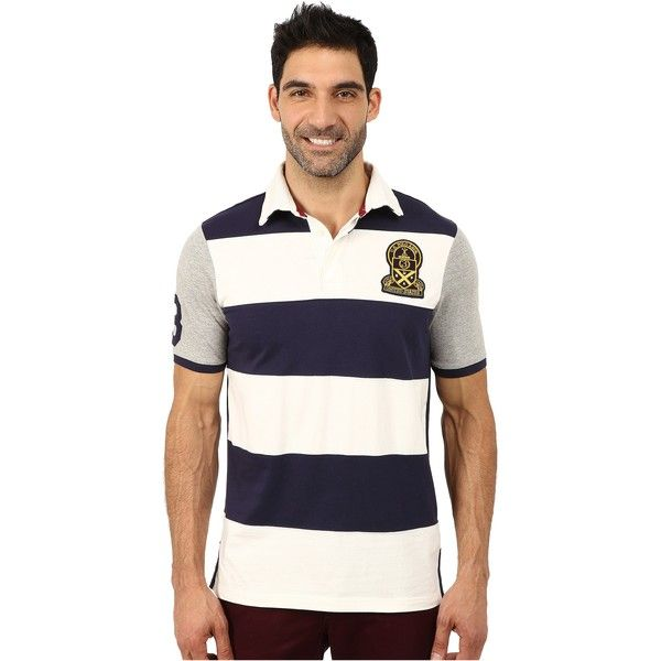 U.S. POLO ASSN. Rugby Striped polo (Classic Navy) Men's Short Sleeve... ($24) ❤ liked on Polyvore featuring men's fashion, men's clothing, men's shirts, men's polos, navy, mens pullover shirts, old navy mens shirts, mens shawl collar pullover, mens pullover and mens collared shirts