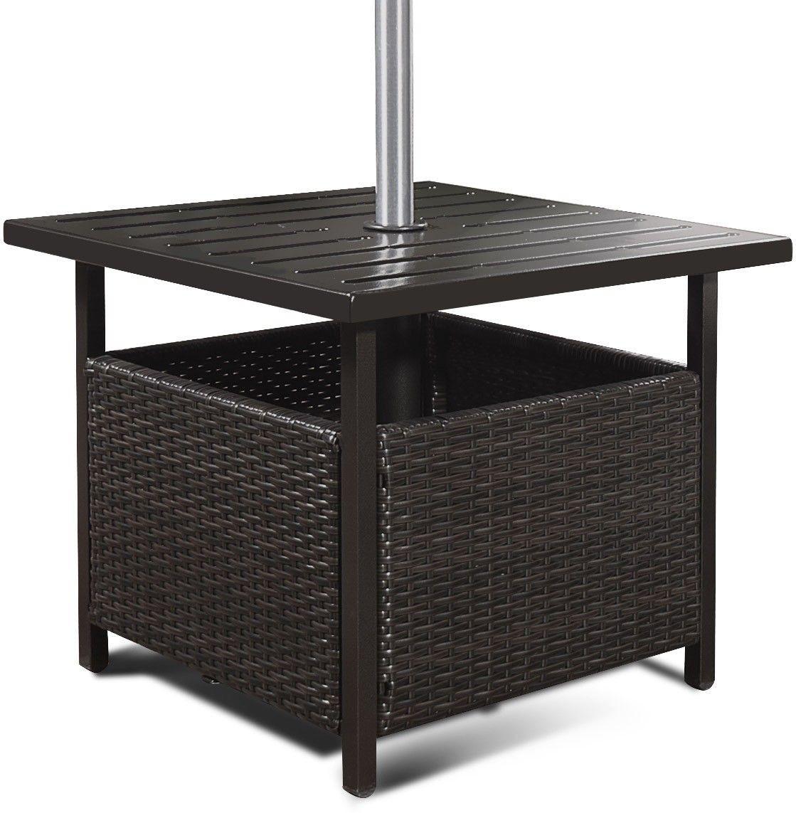 Outdoor Patio Rattan Wicker Steel Side Deck Table Outdoor Side Table Small Outdoor Table Pool Patio Furniture