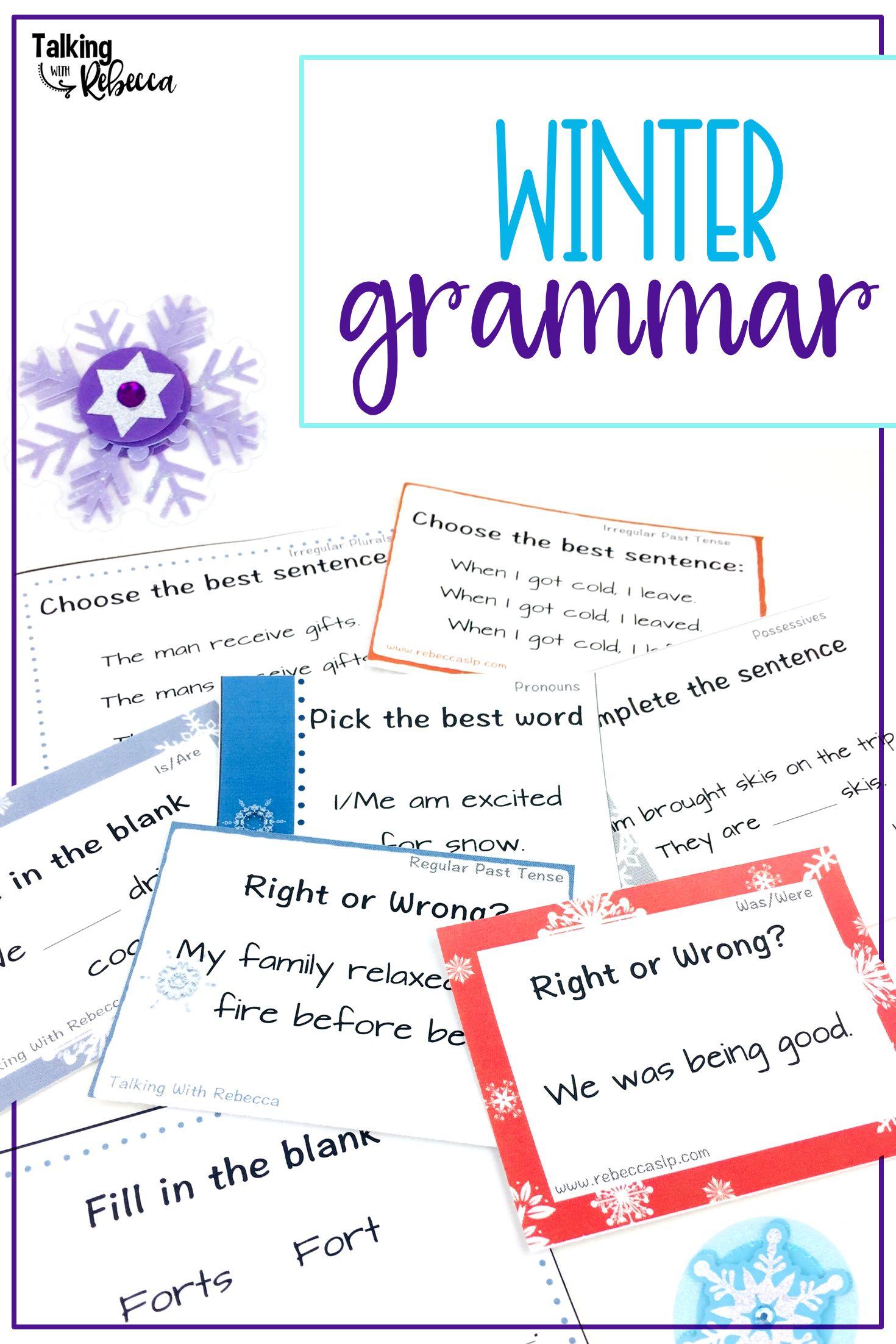 Winter Grammar Activities For Speech Therapy Winter Speech Therapy Grammar Grammar Sentences [ 2204 x 1470 Pixel ]