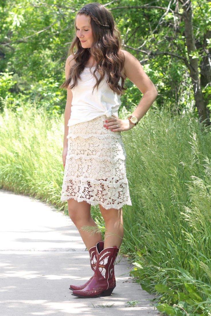 Lace Dresses With Boots cowboy boots outfit2 | Little White Dress ...