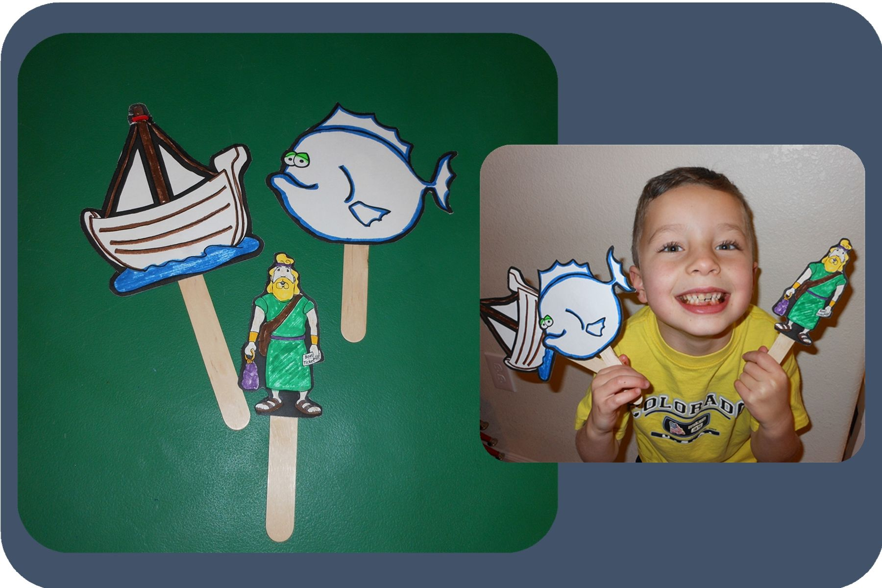 Jonah and the whale stick puppet printable | Preschool Ideas ...