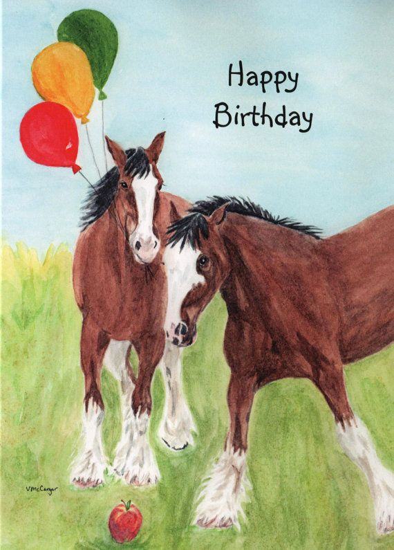 Birthday Clydesdale Horse With Balloons Card Original StellaJaneCards