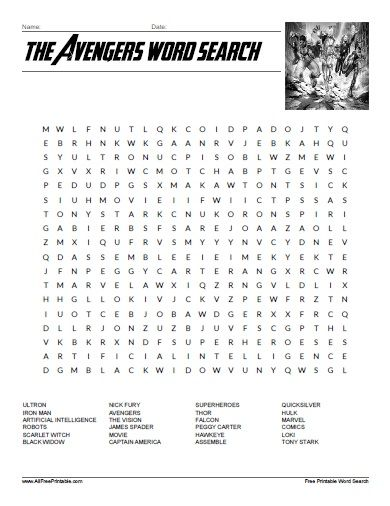 the avengers word search all free printable pinterest word search fun worksheets and word. Black Bedroom Furniture Sets. Home Design Ideas