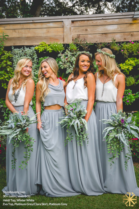 b7be87f37fb3d1 38 Chic And Trendy Bridesmaids  Separates Ideas  grey chiffon maxi skirts  and white tops