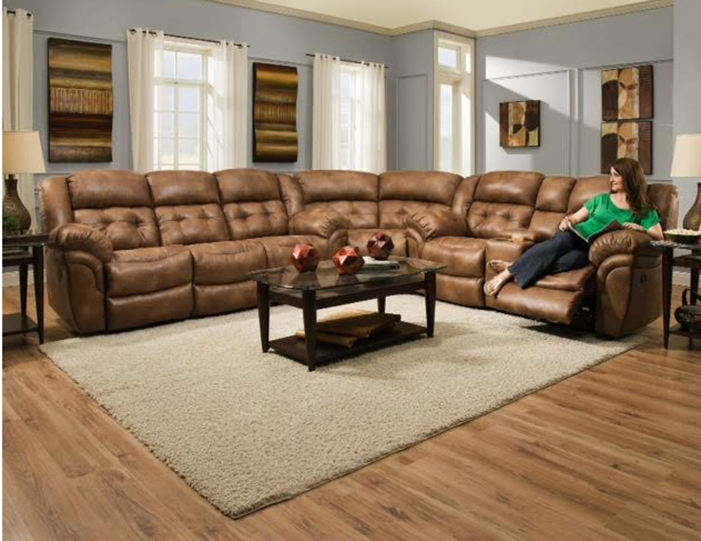 Cheyenne Recline Sectional Almond Steinhafels Furniture Sectional Sofa With