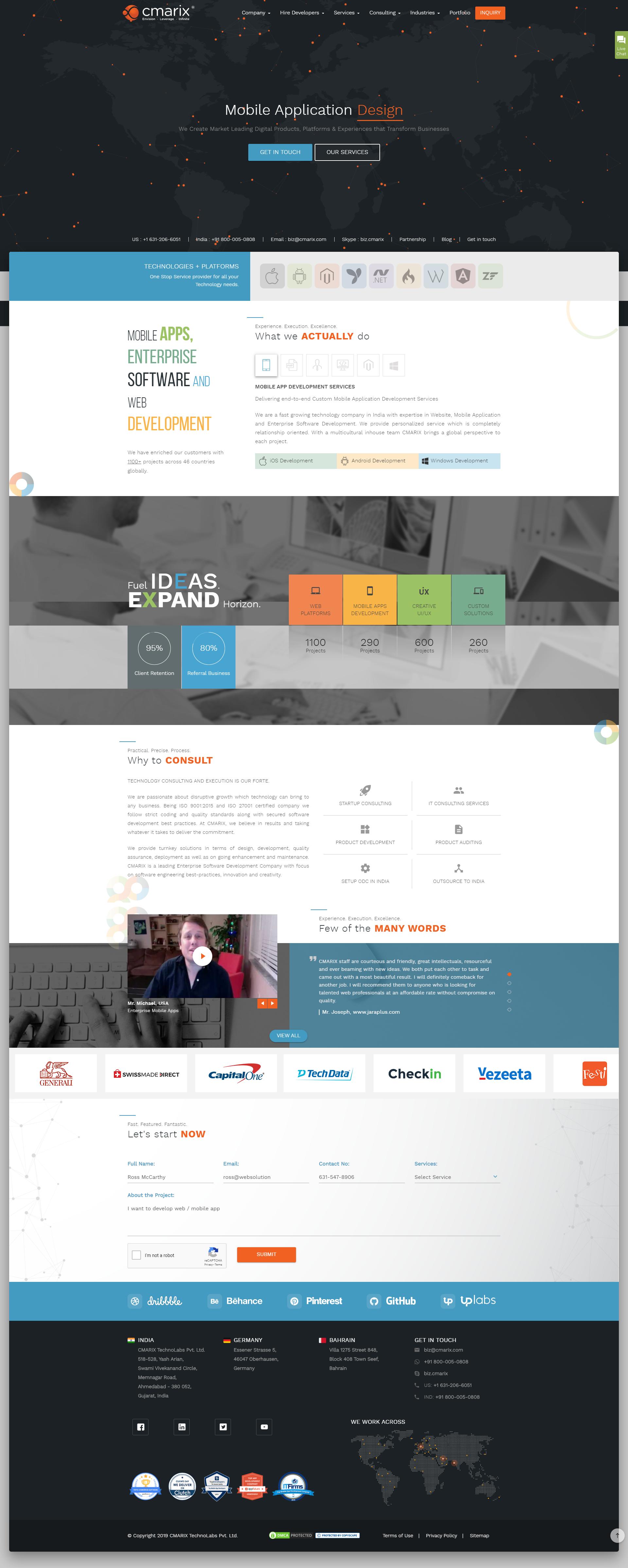 Cmarix Indians Leading Mobile Apps Custom Software Websites Development Company Website Beautiful Website Design Website Design Personal Website Design