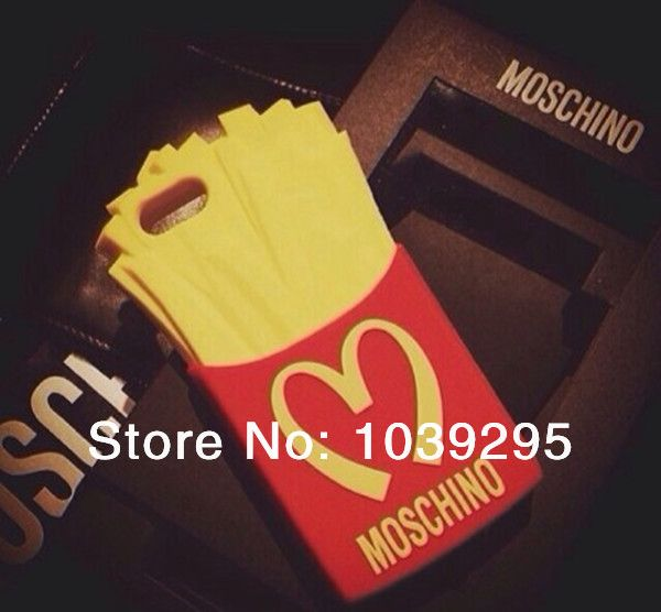 2014 New arrival 1pcs Moschino case McDonald's french fries phone case for iPhone 4 4S iPhone 5 5S of silicone  cover case $11.00