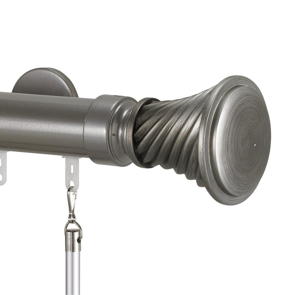 Art Decor Tekno 40 60 In Traverse Rod In Antique Silver With
