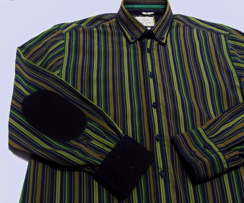 Green striped dress shirt  Haupt Mens Shirt Blue Green Striped Elbow Patches Flip Cuff Size M
