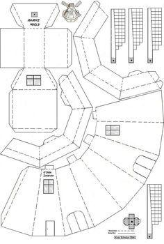 Bouwplaten Google Zoeken Paper House Template Cardboard House Paper Windmill