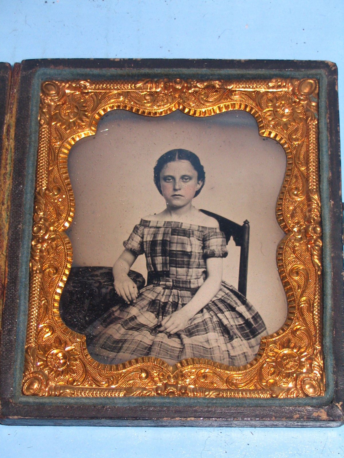 Daguerreotype or Possibly Ambrotype Pretty Girl w Plaid Nice Case 2 Tax Stamps | eBay