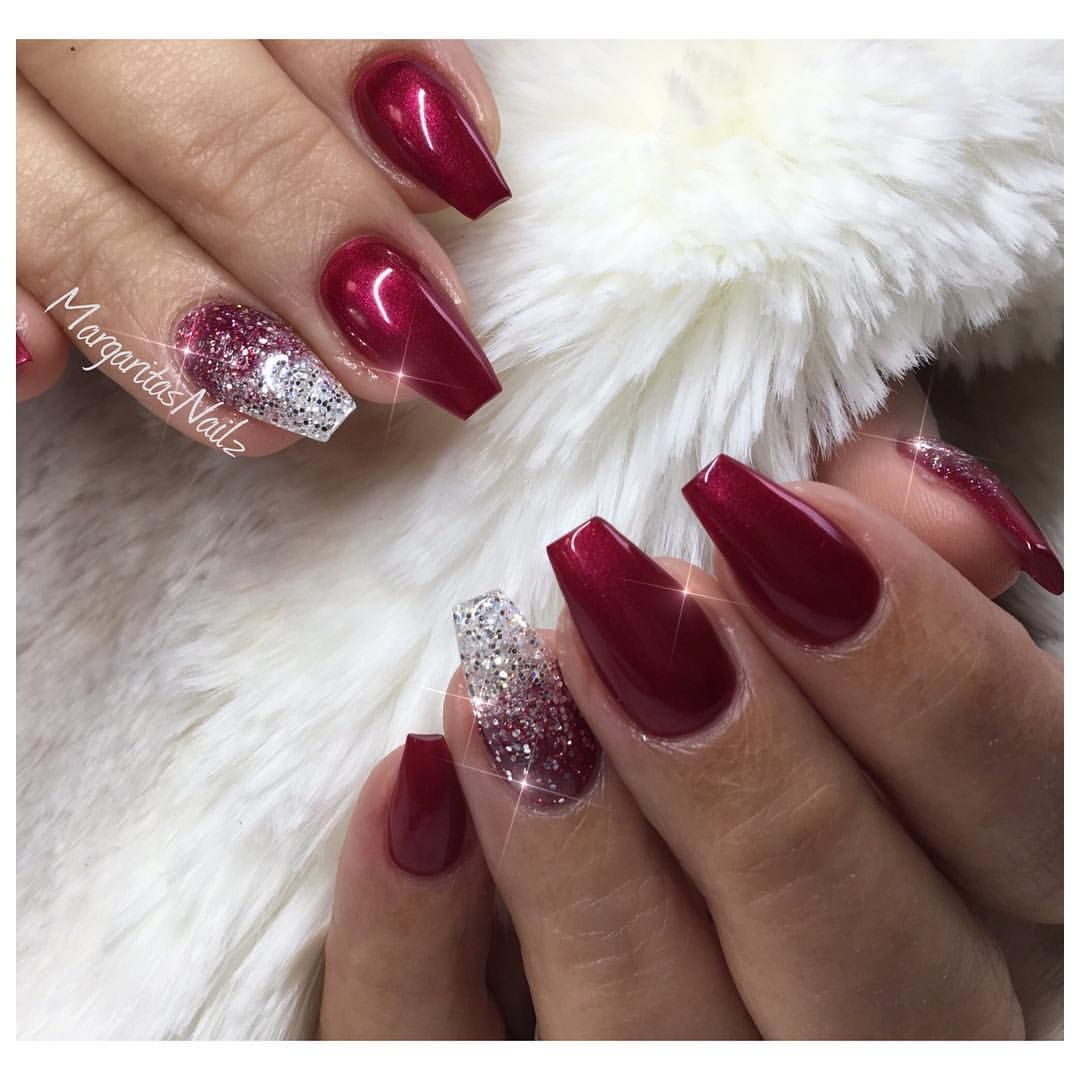 Christmas red coffin nails glitter ombré design by margaritasnailz ...