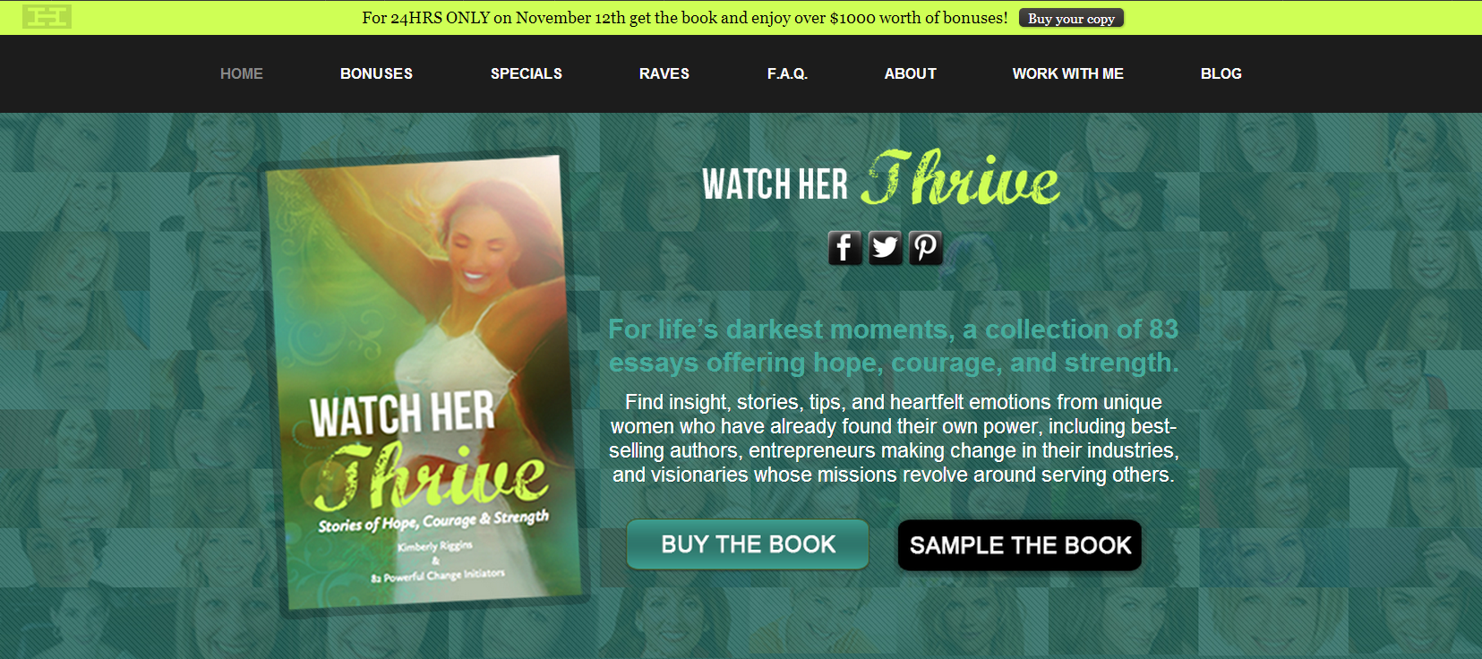 Today my client @Kimberly Riggins  published the book Watch Her Thrive and all the proceeds go to Women for Women International.   There is also over $1000 worth of book bonuses to grab if you purchase the Kindle edition of the book before midnight. Let's give back!  I am proud to be behind the design and code of the website for this life-changing book. Check it out: http://watchherthrivebook.com/