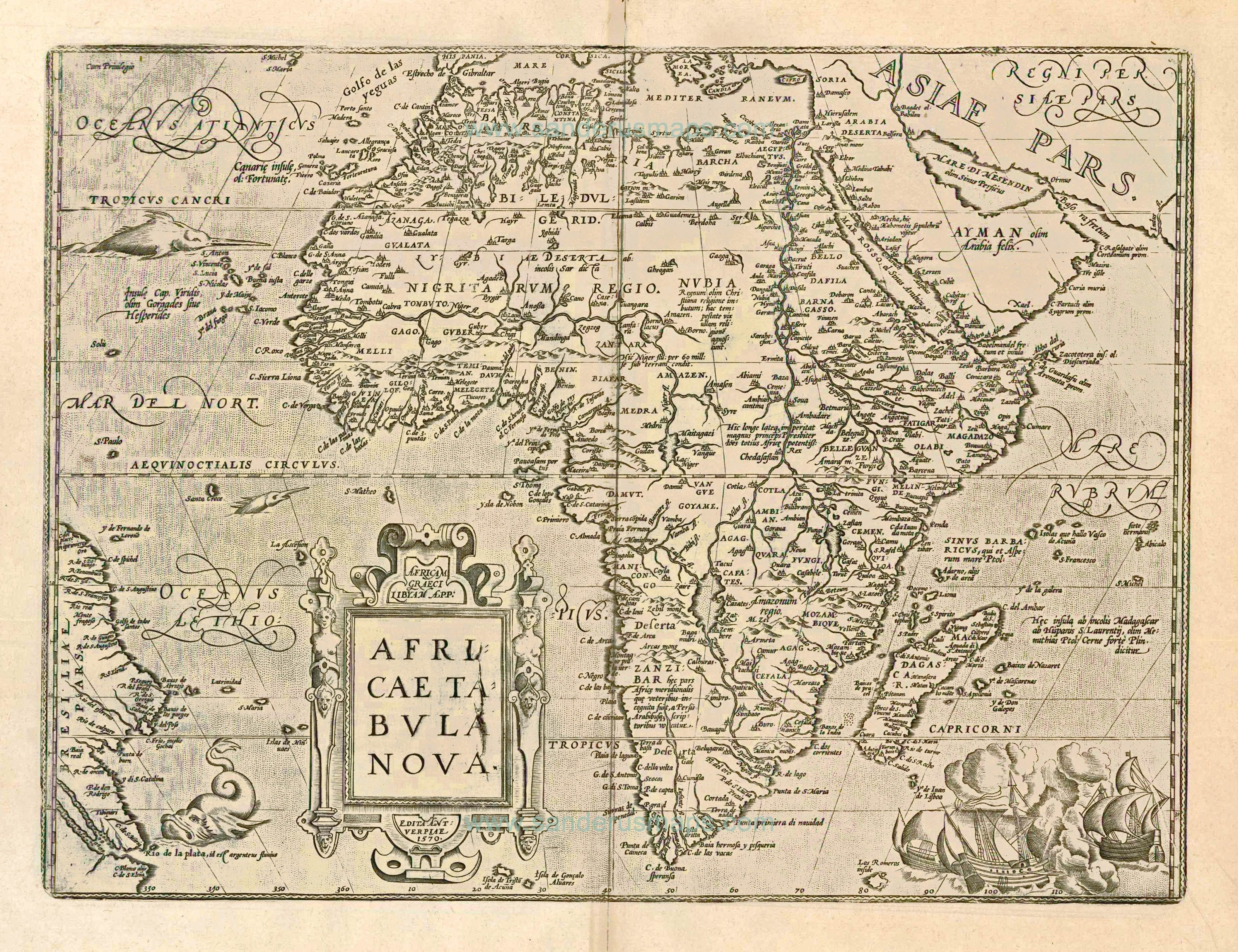 Old, antique map of Africa by A. Ortelius | Sanderus Antique Maps